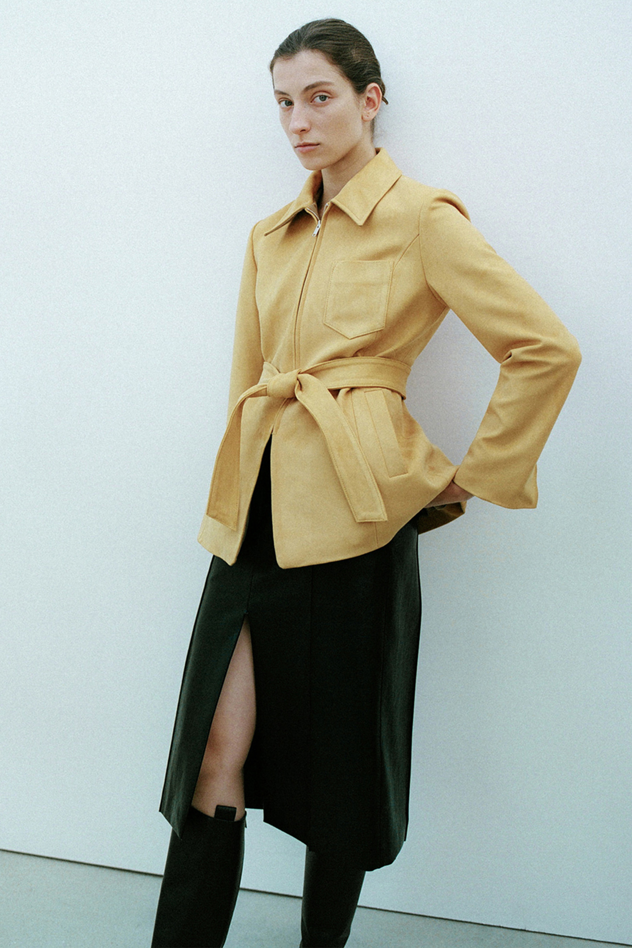 HIGH QUALITY LINE- Joan Hourglass Suede Jacket (MUSTARD)
