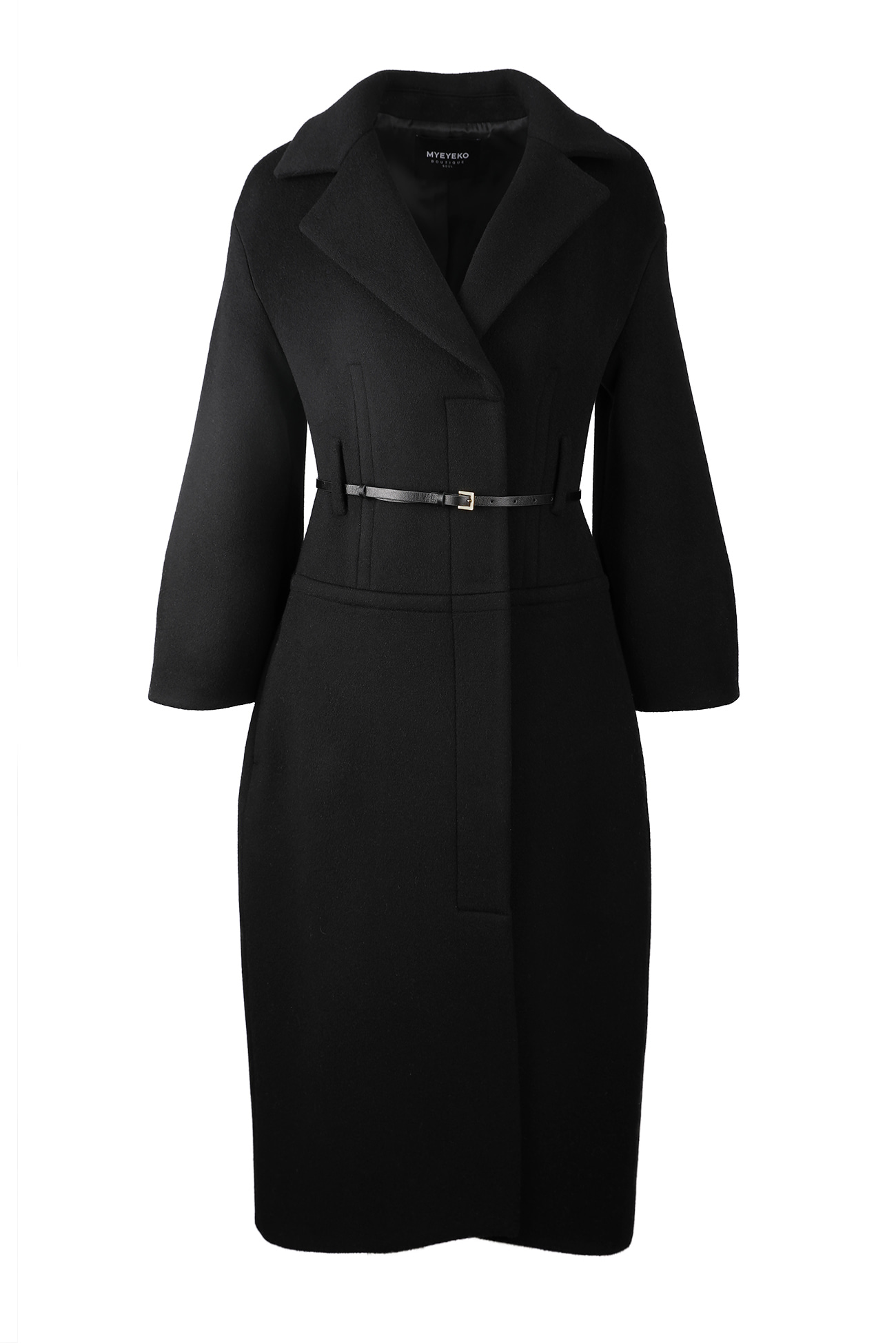 HIGH QUALITY LINE - ELEGANT SILHOUETTE Single-breasted belted coat (블랙)