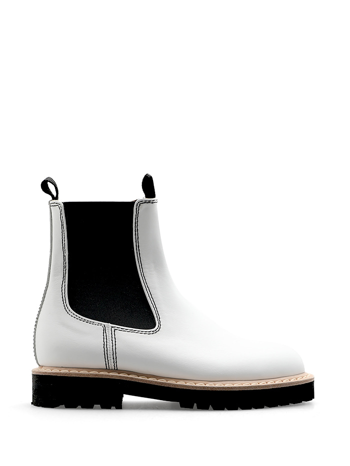 CHUNKY SOLE CHELSEA BOOTS - WHITE